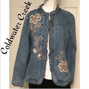 Ruffled Jean Jacket Embroidered Beaded Floral Med